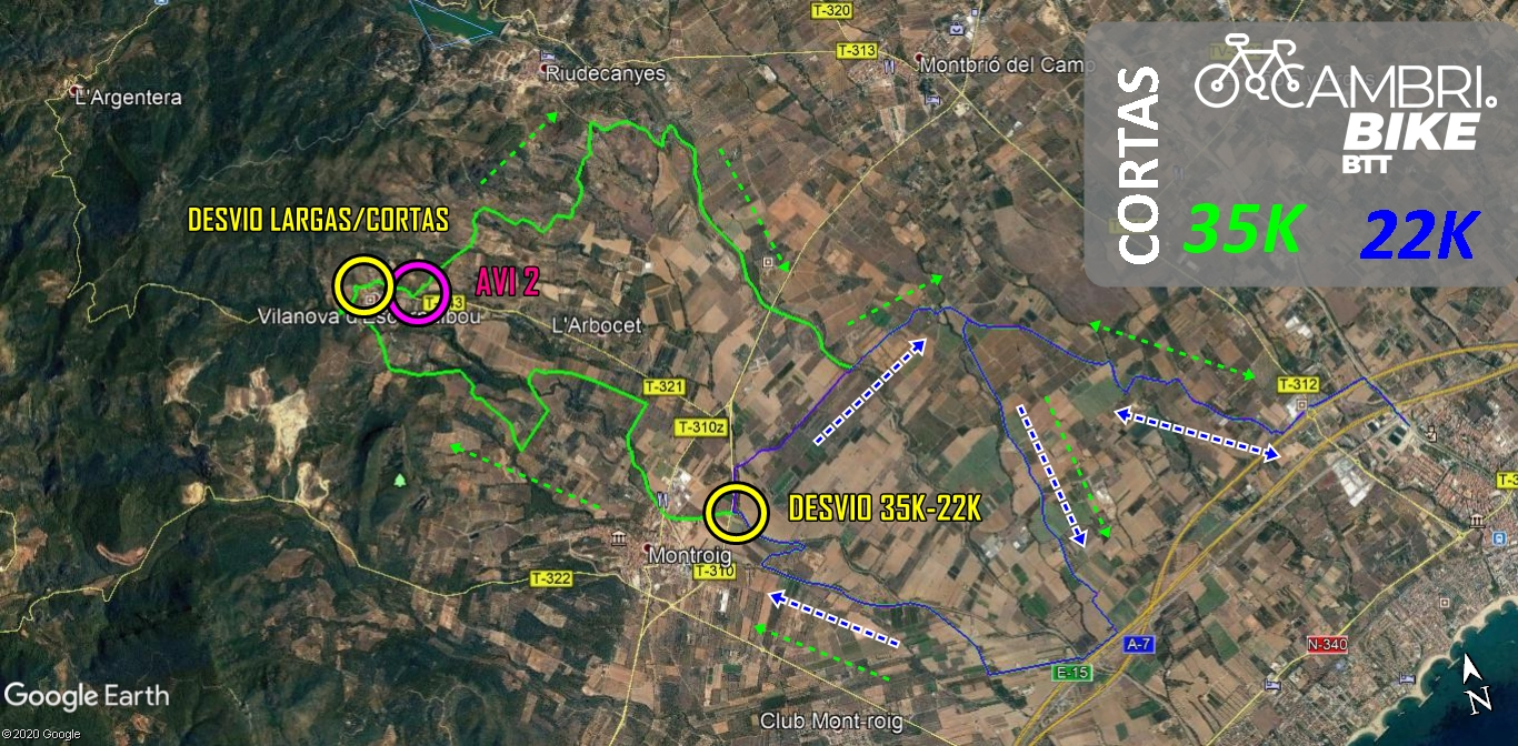 mapa distancia corta cambribike 2020